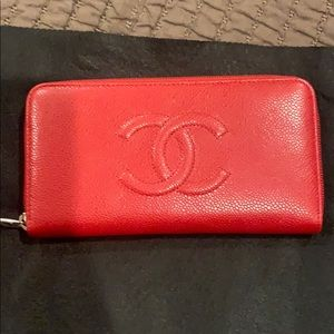 Chanel red large wallet textured leather
